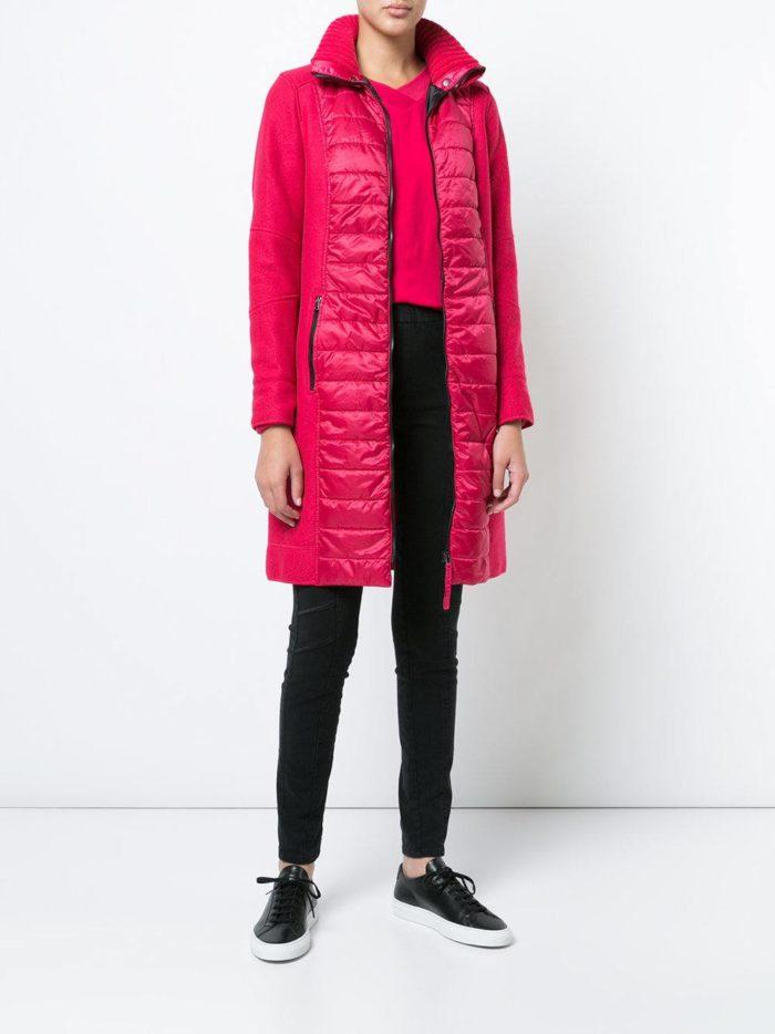 модные образы осень зима 2019-2020: комбинированное розовое пальто