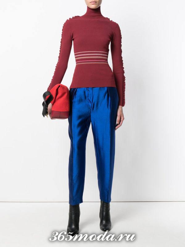 блестящие укороченные брюки осень-зима