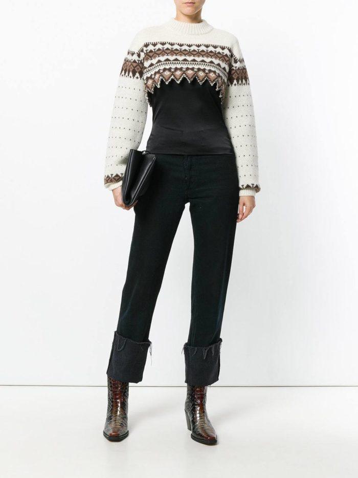 короткий свитер с узором осень-зима