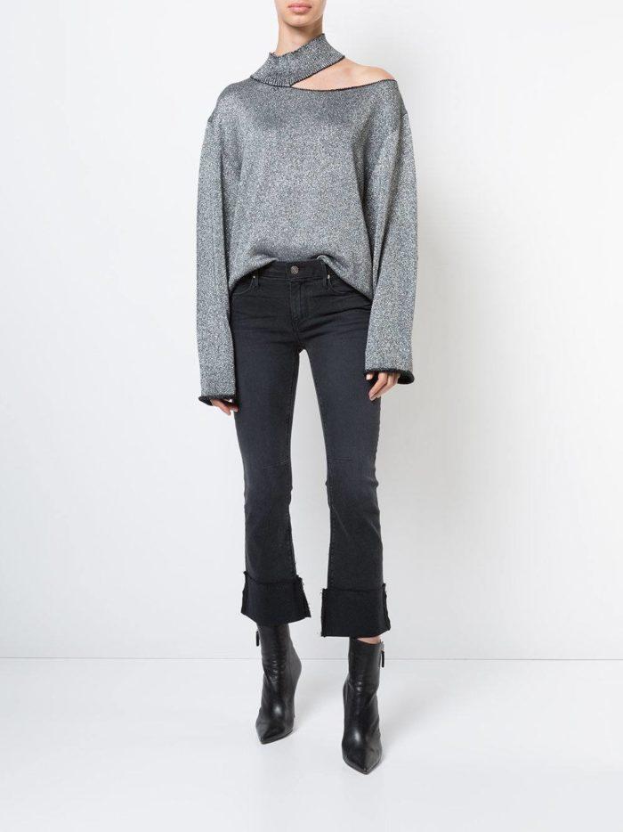серый свитер оверсайз осень-зима