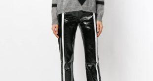 серый свитер с полосками осень-зима