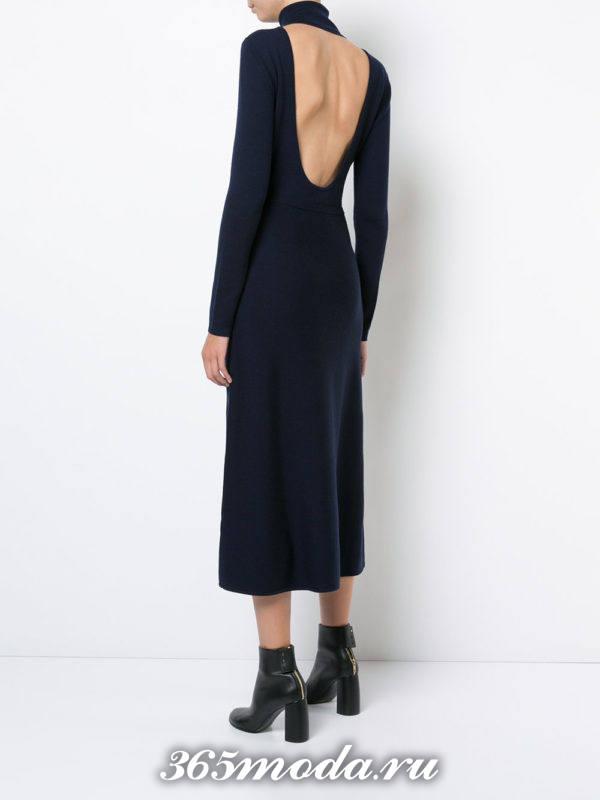 платье осень-зима с черными ботинками