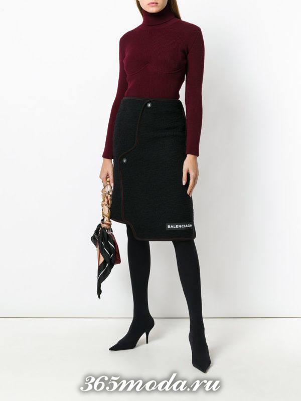 асимметричная юбка осень-зима с сапогами на каблуке