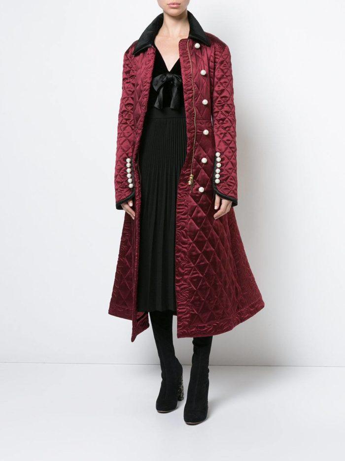 стеганое пальто осень-зима с сапогами