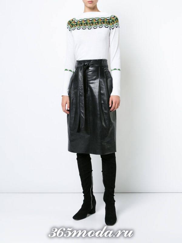 юбка тюльпан осень-зима с замшевыми сапогами