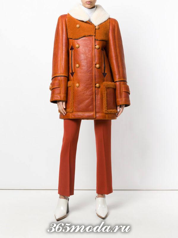 рыжая дубленка с накладными карманами осень-зима