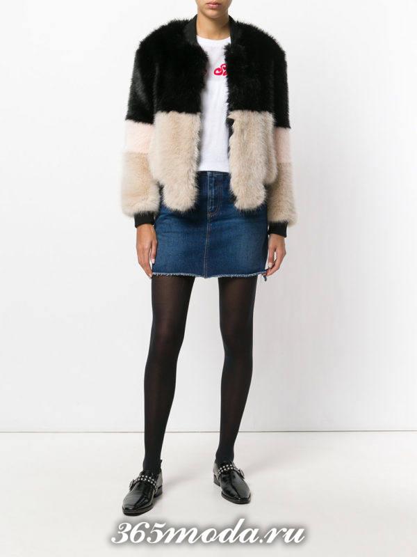 меховая куртка осень-зима с лоферами