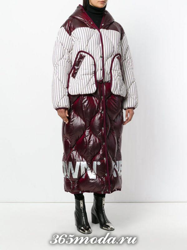 модный образ осень-зима с комбинированным пуховиком