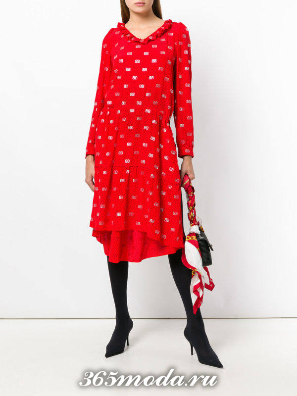 модный образ осень-зима с асимметричным платьем