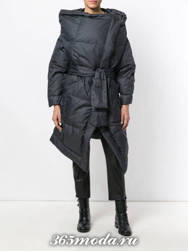 асимметричный черный пуховик осень-зима