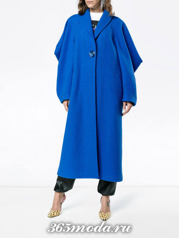 синее пальто оверсайз осень-зима