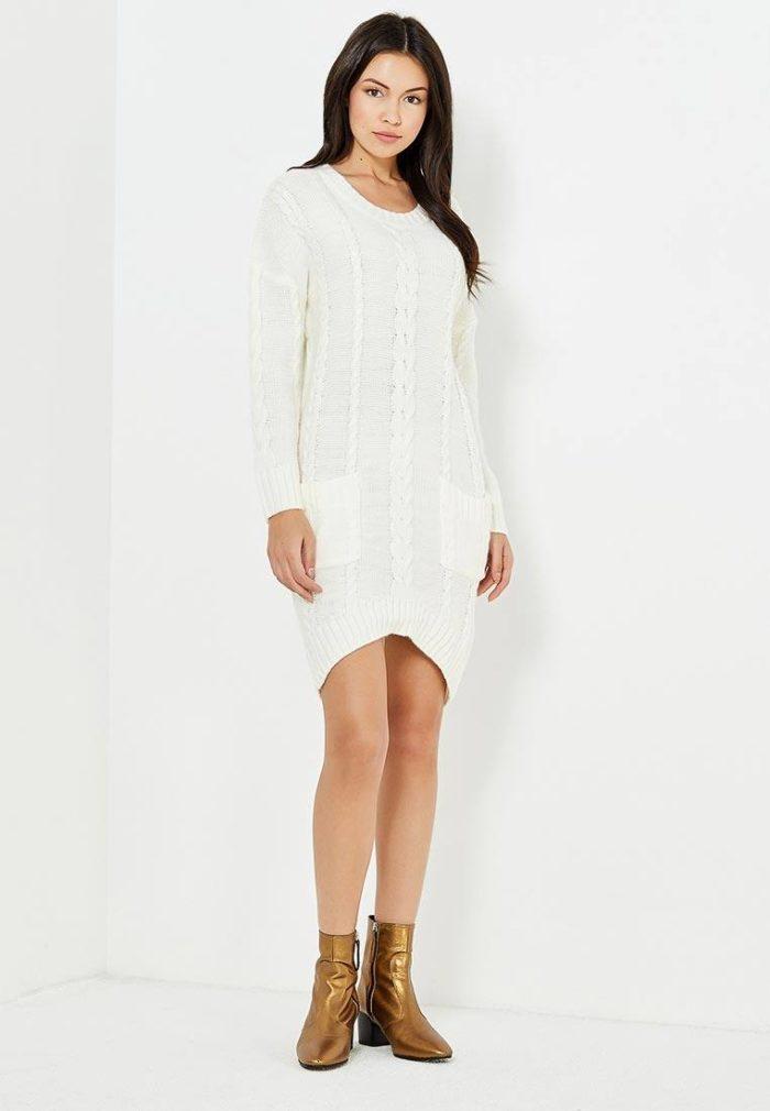 платья 2019-2020 года: белое свитер осень-зима