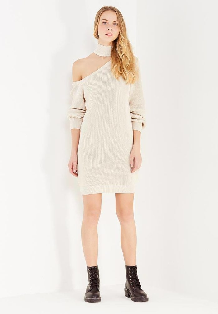 платья 2019-2020 года: белое с вырезом осень-зима
