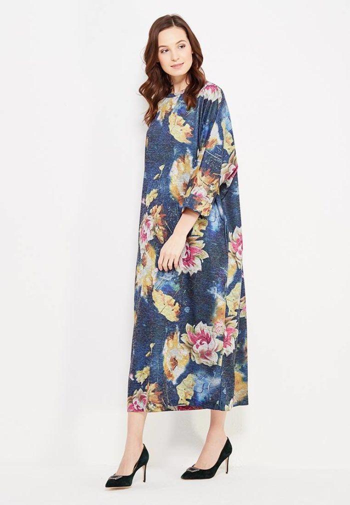 платье на каждый день: длинное трикотажное с принтом