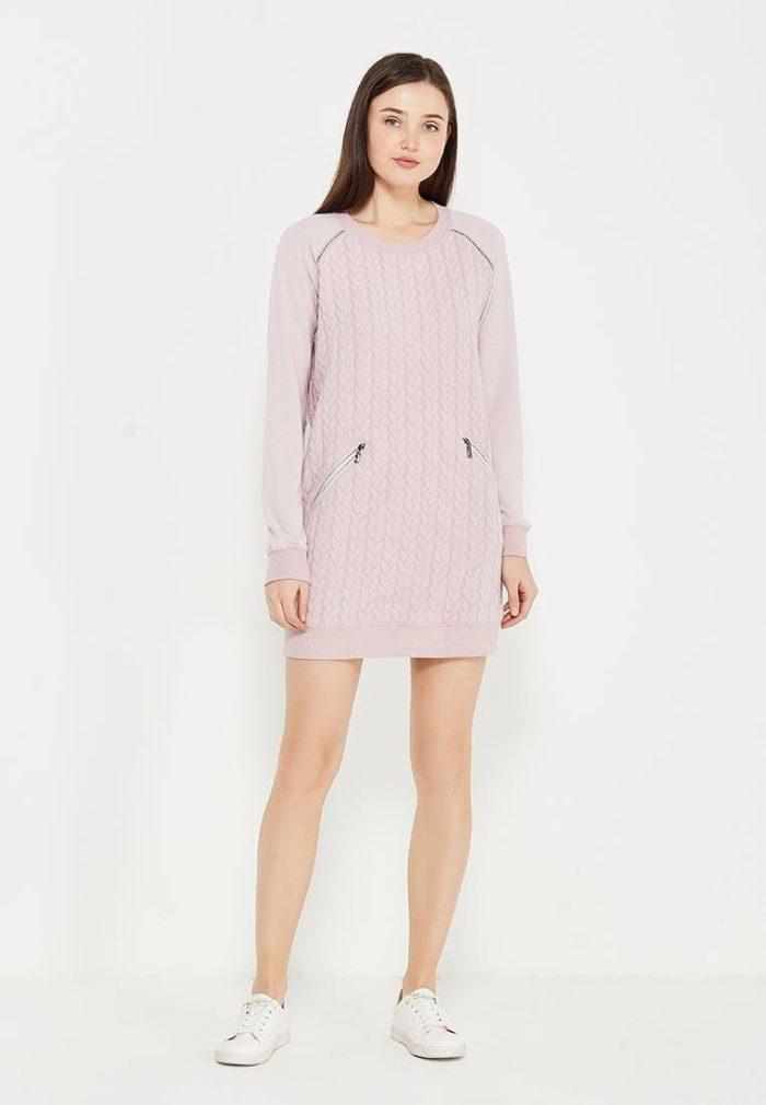 платье на каждый день: розовое трикотажное мини с длинными рукавами