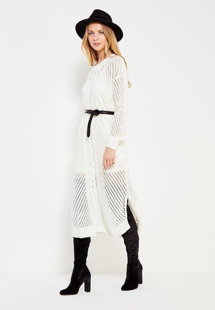 модные платья: белое прозрачное с поясом