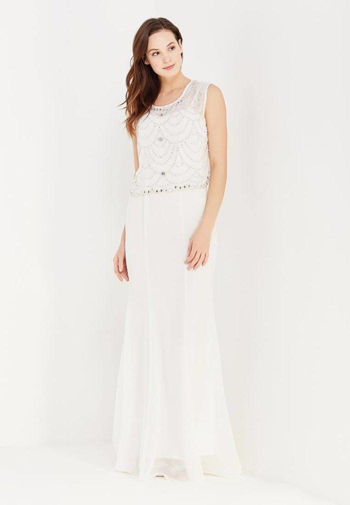 модные платья: белое длинное