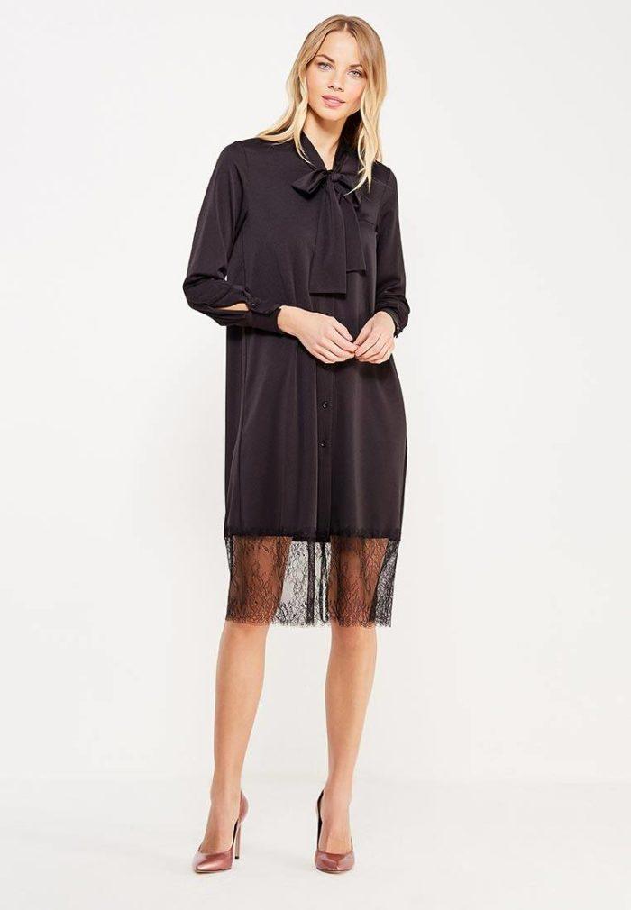 модные платья на каждый день: черное рубашка