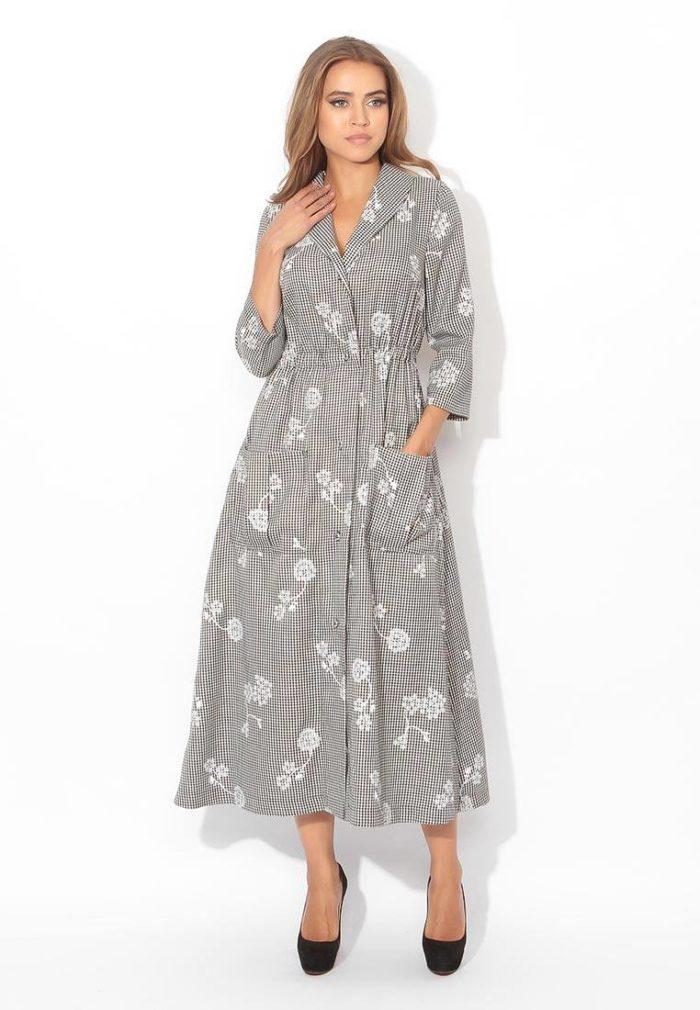 модные платья на каждый день: длинное рубашка с принтом