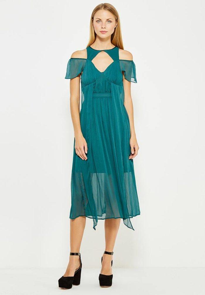 платья 2019-2020 года: бирюзовое миди с декором