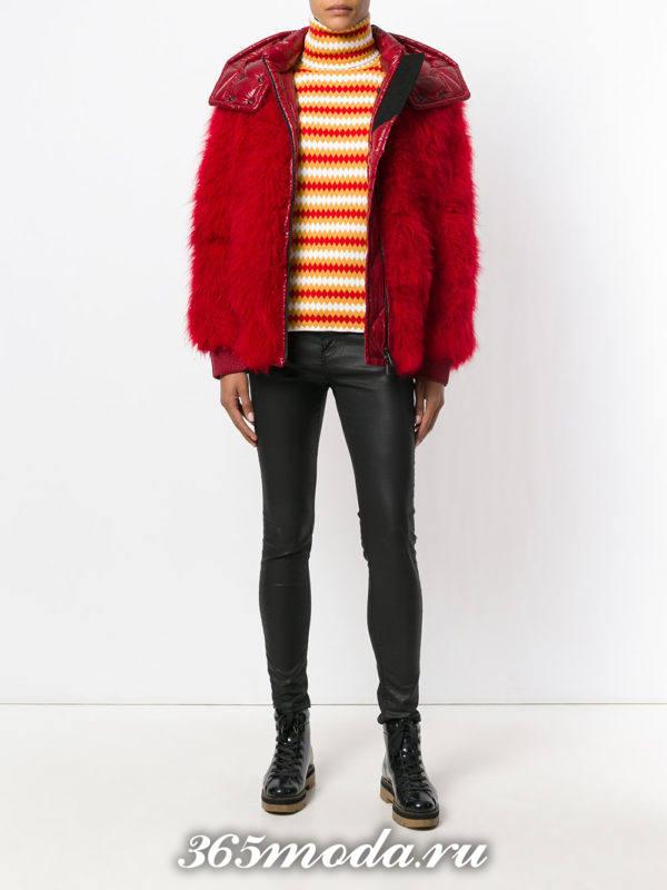 красный короткий меховой пуховик осень-зима
