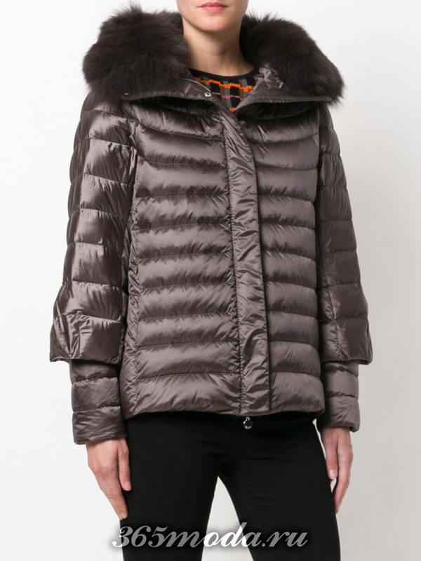 короткий коричневый пуховик-трансформер с капюшоном осень-зима