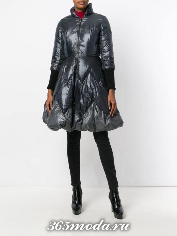 серый пуховик платье с укороченными рукавами осень-зима