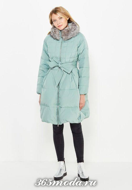 голубой пуховик платье с поясом осень-зима