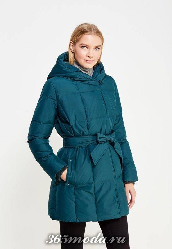 пуховик платье с капюшоном и поясом осень-зима