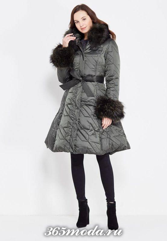 пуховик платье с мехом осень-зима