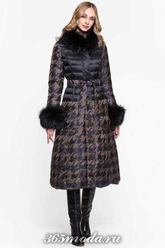пуховик платье с принтом с мехом осень-зима