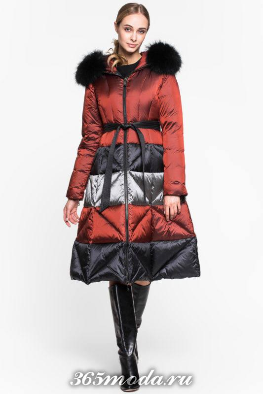 разноцветный пуховик платье с капюшоном осень-зима