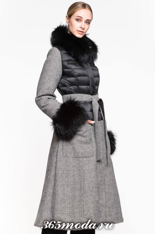 комбинированный пуховик платье с мехом осень-зима