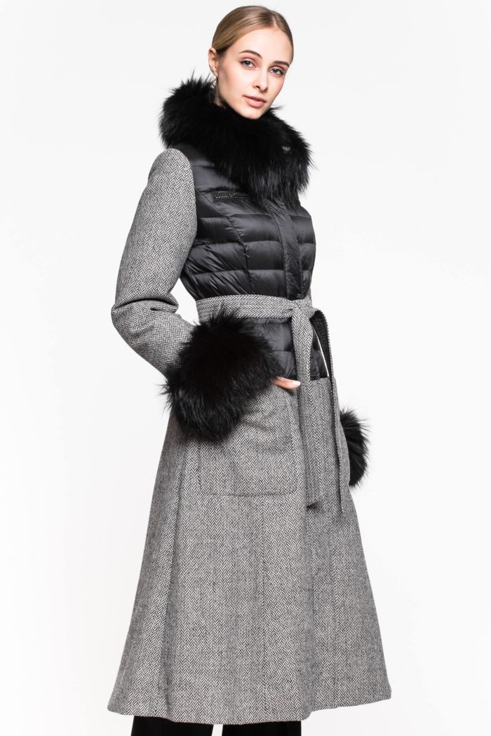 комбинированный платье с мехом