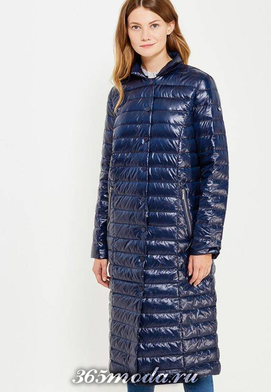 синий блестящий длинный пуховик осень-зима