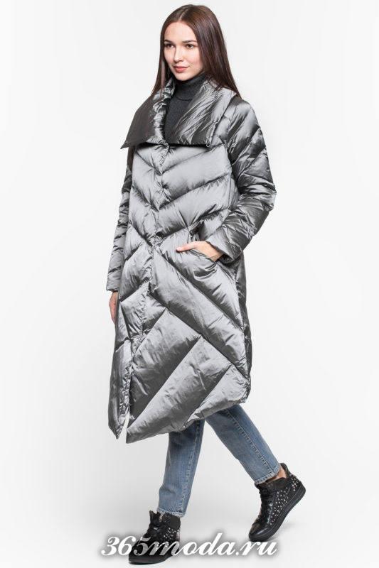 блестящий длинный асимметричный пуховик осень-зима