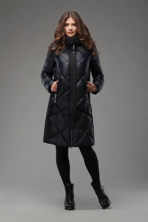 черный стеганый миди пуховик осень-зима
