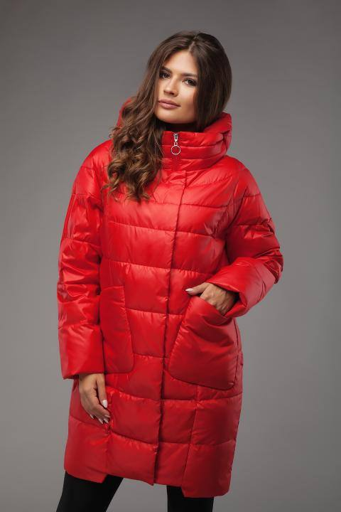красный стеганый пуховик с воротником-стойкой осень-зима
