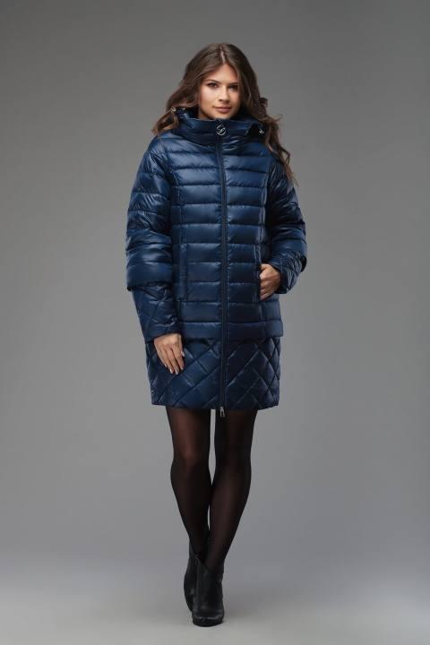 синий пуховик-трансформер с мехом осень-зима