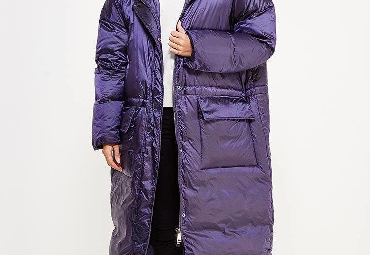 модный фиолетовый пуховик оверсайз осень-зима