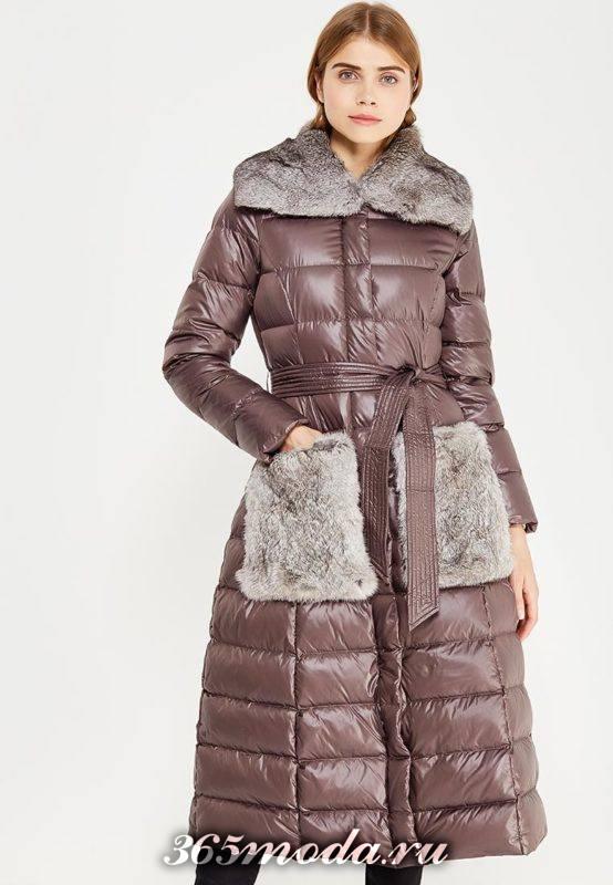 модный пуховик клеш с мехом осень-зима