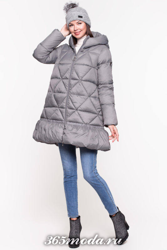 модный серый пуховик клеш с капюшоном осень-зима