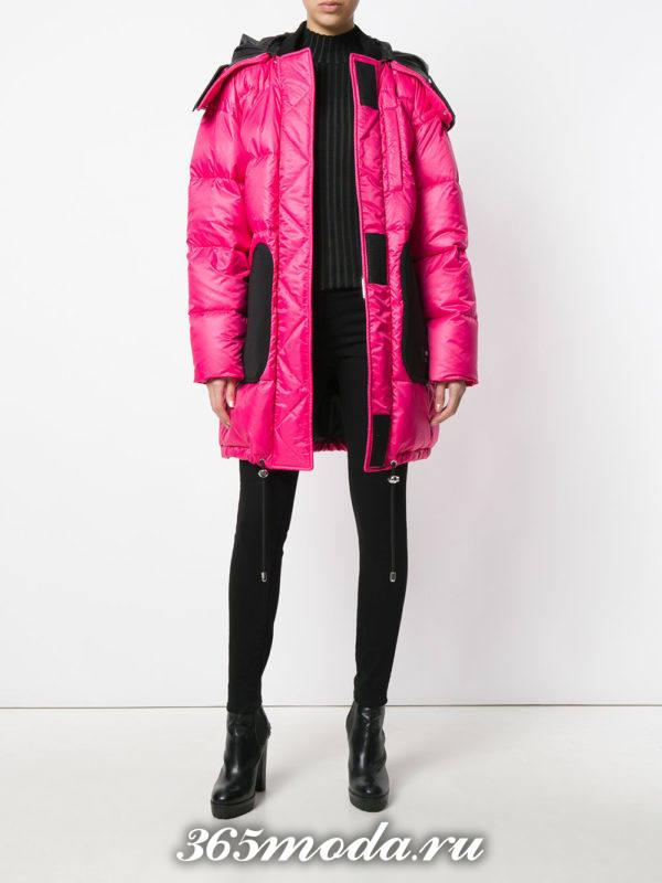 розовый пуховик оверсайз осень-зима