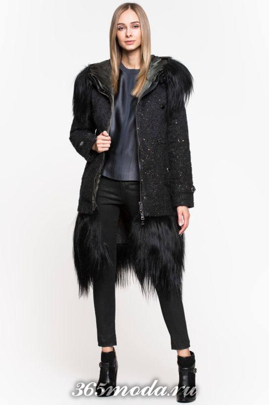 модный черный пуховик с мехом осень-зима
