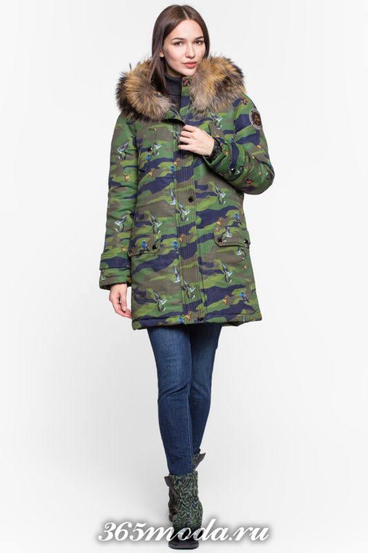 модный пуховик с принтом и капюшоном осень-зима