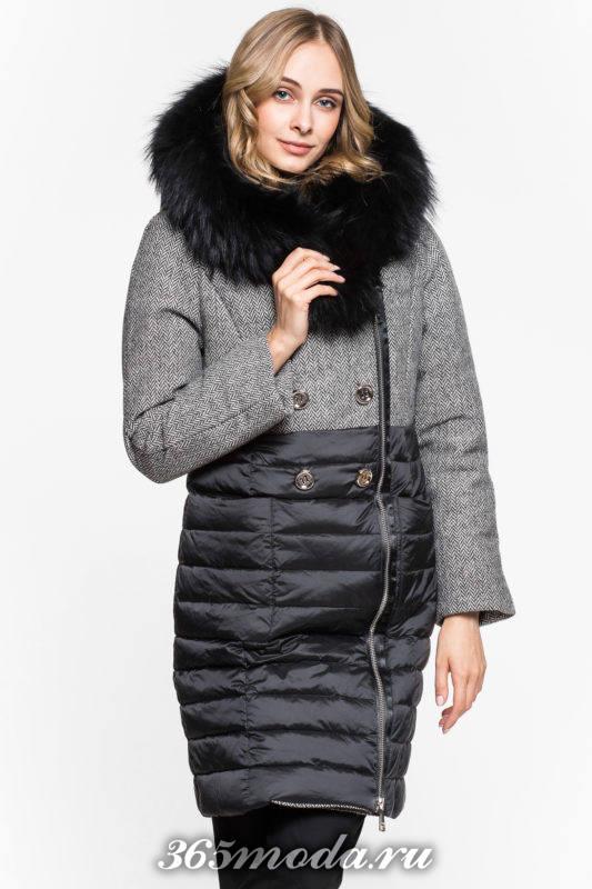 модный комбинированный пуховик с капюшоном осень-зима