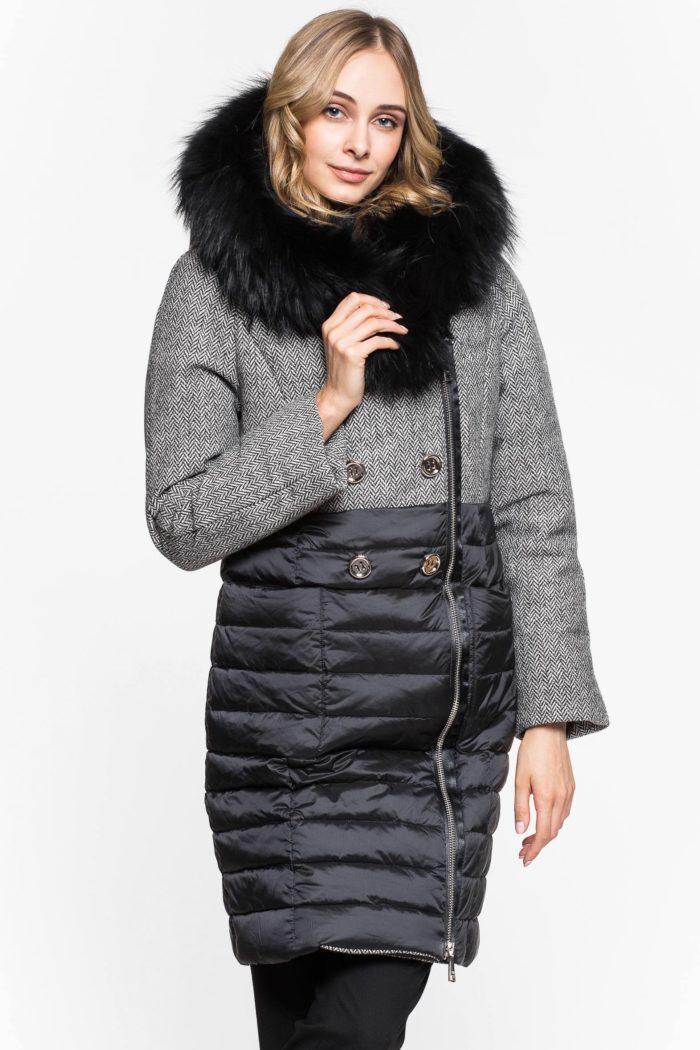 Модные пуховики осень-зима 2019-2020: комбинированный с капюшоном