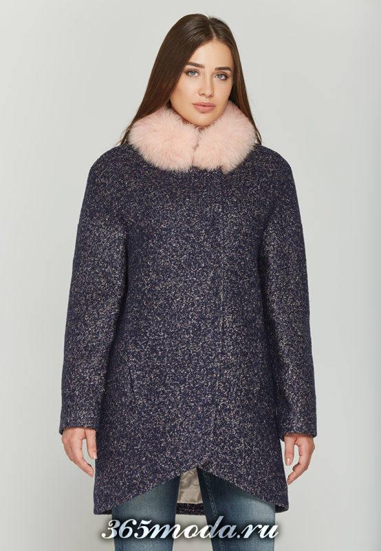 асимметричное пальто с мехом на воротнике осень-зима