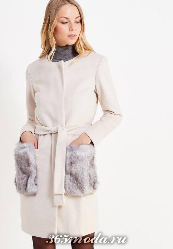 пальто с поясом и мехом на карманах осень-зима