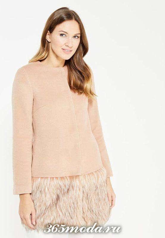 розовое пальто с меховым низом осень-зима